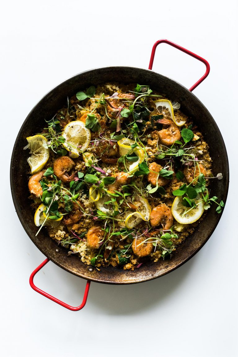 shrimp and veggie paella cauliflower rice recipe