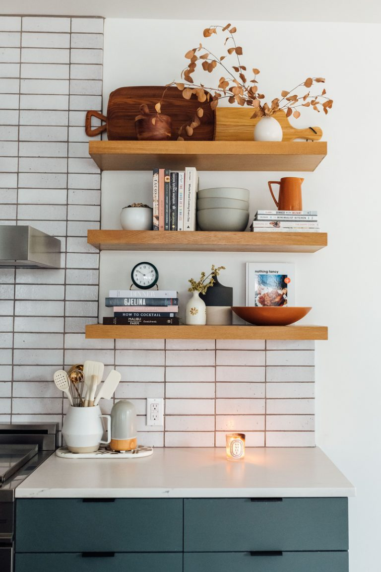 jen pinkston open shelving in kitchen