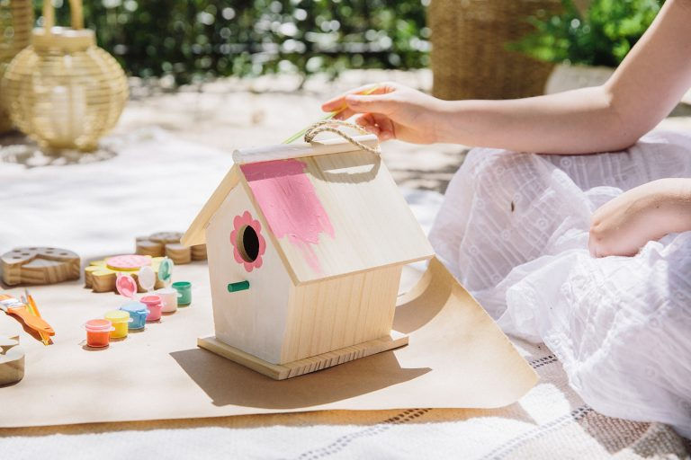 Kids Crafts for Easter - Spring Wooden Birdhouse to Paint