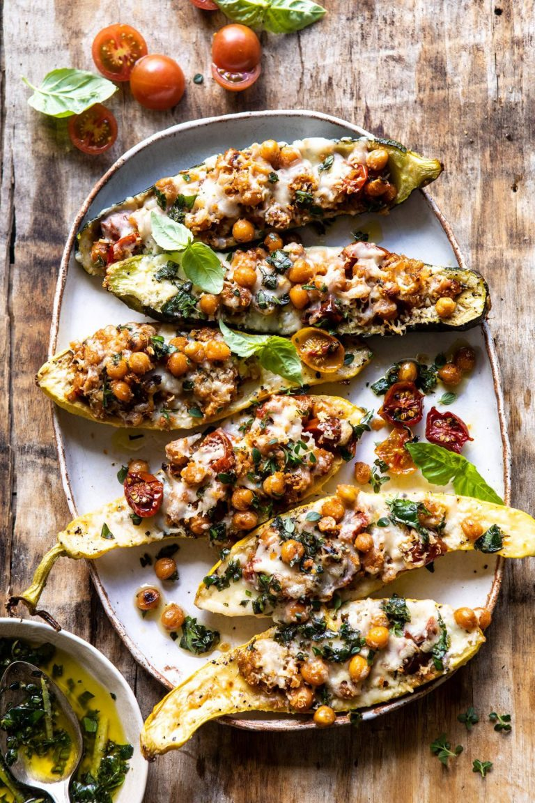 Spicy Chickpea and Cheese Stuffed Zucchini—Half Baked Harvest