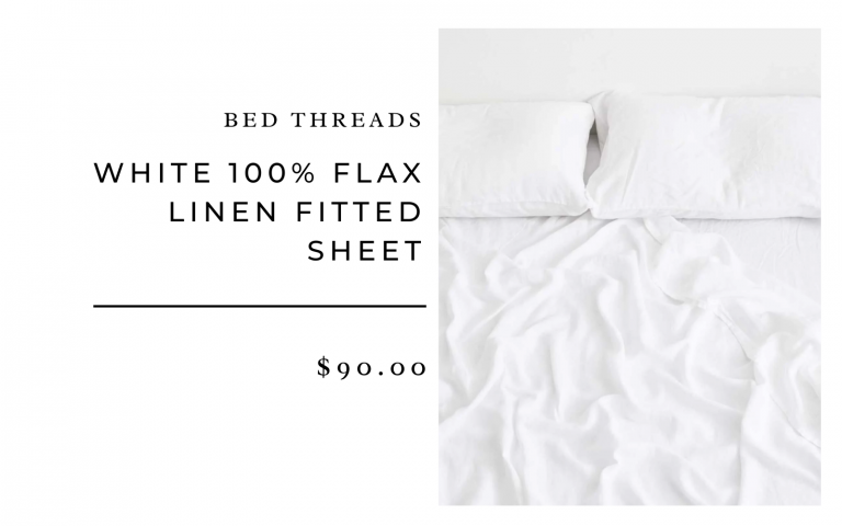 Bed Threads White 100% Flax Linen Fitted Sheet