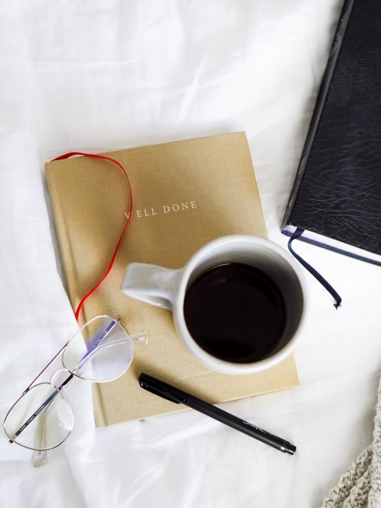 Anna Mae Groves, Stylemakers, coffee, notebook, morning, journaling, glasses