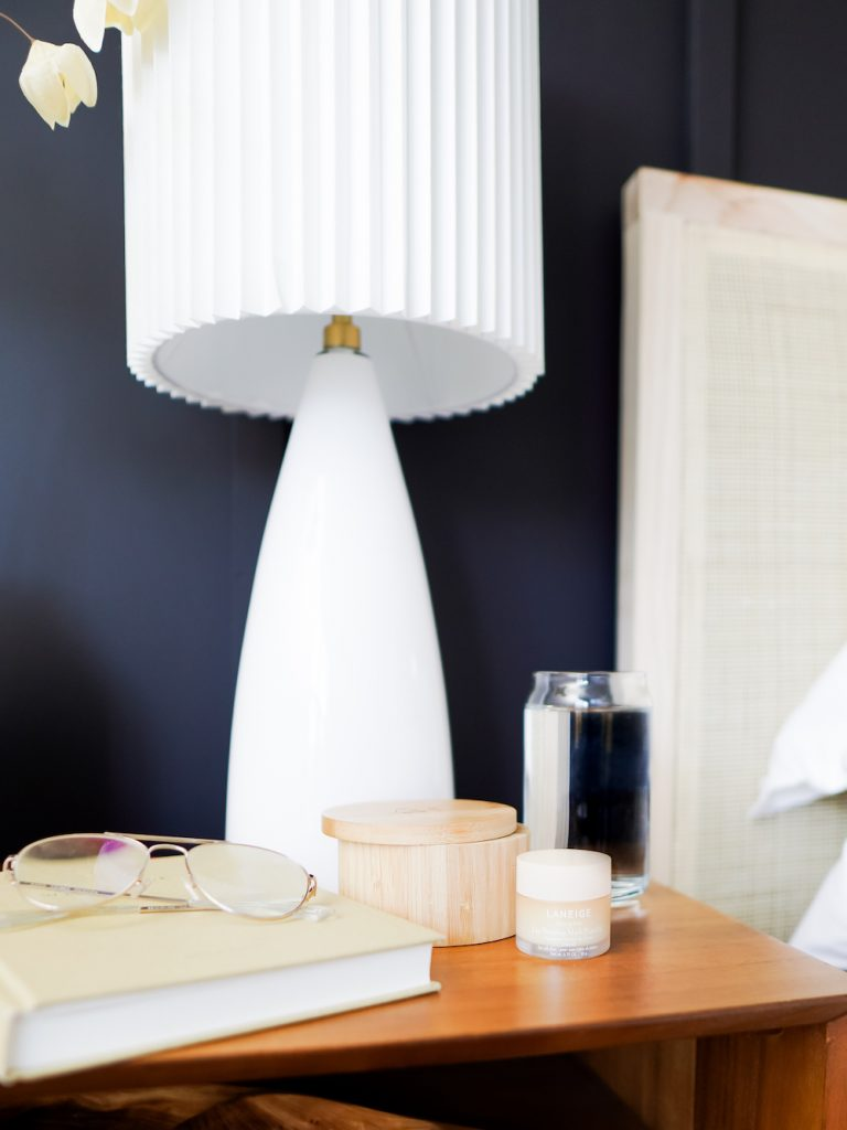 Anna Mae Groves, Stylemakers, bedroom, bedside table, lamp, navy, candle, glasses