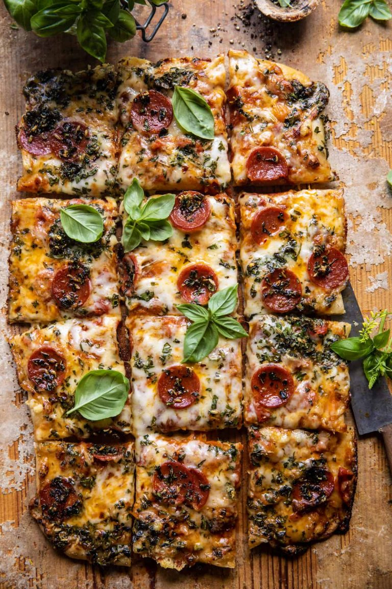 easy sheet pan tomato herb pizza