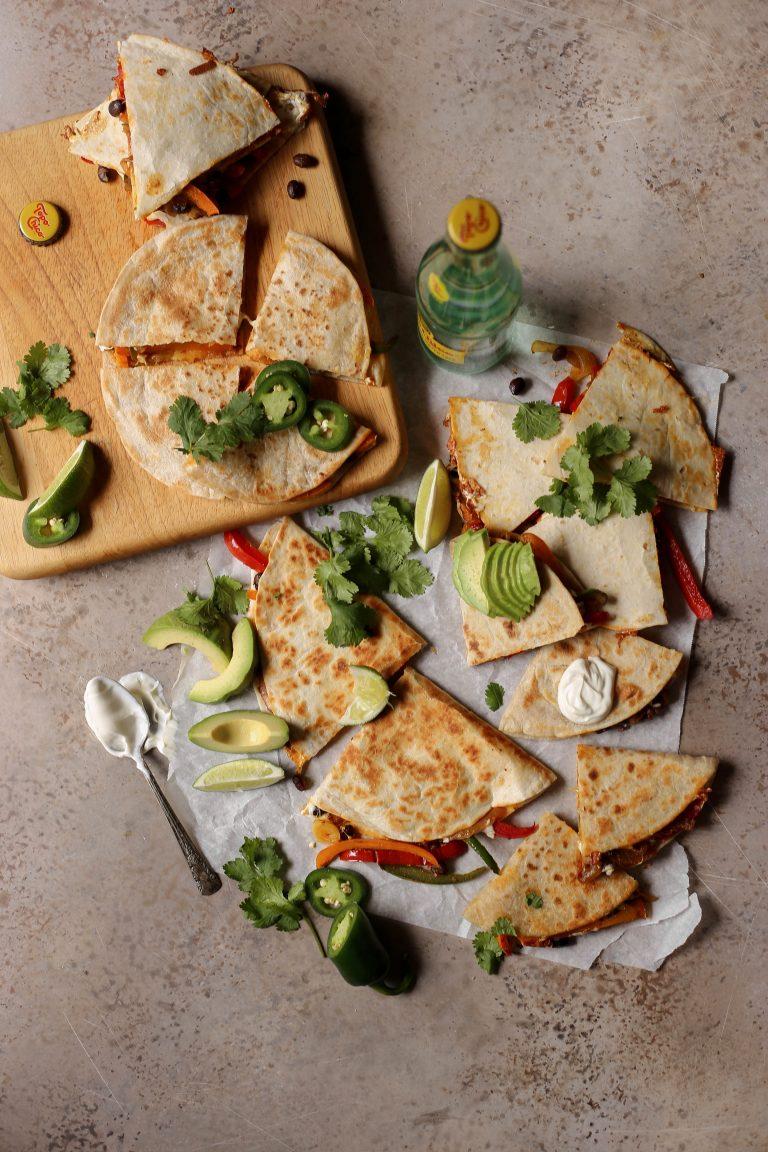 easy cheesy masala vegetable quesadillas