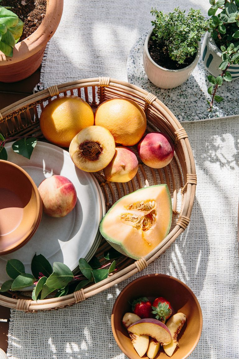 Summer Produce and Fruit as Tabletop Centerpiece - Spring Gathering for Mother's Day