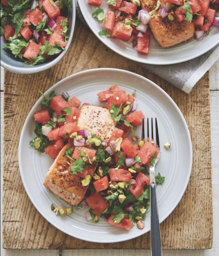 Crispy Salmon And Watermelon Mint Salsa