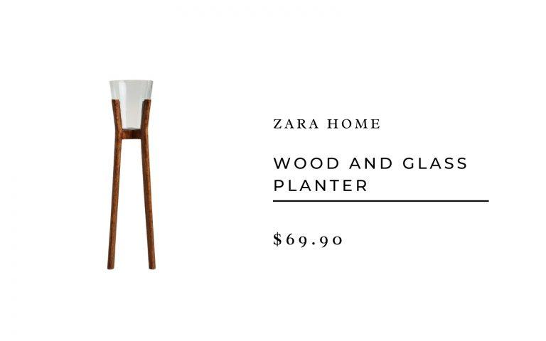 Zara Home Wood and Glass Planter