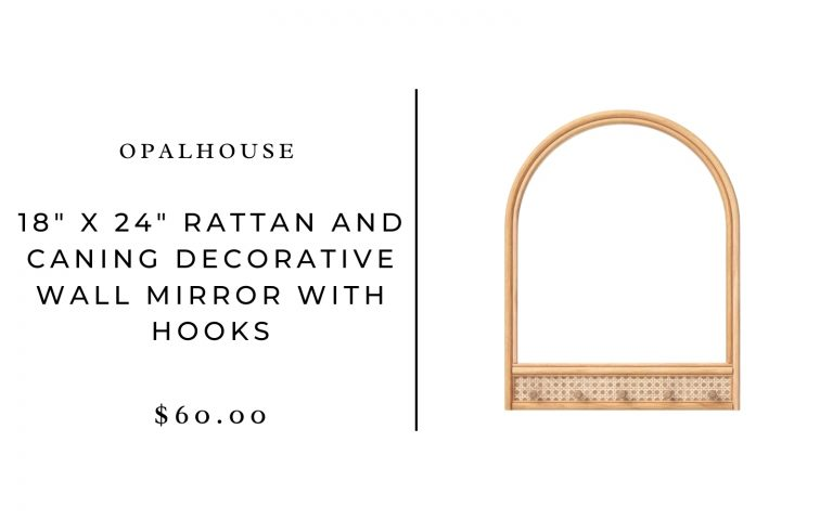"""Opalhouse 18"""" x 24"""" Rattan and Caning Decorative Wall Mirror with Hooks"""