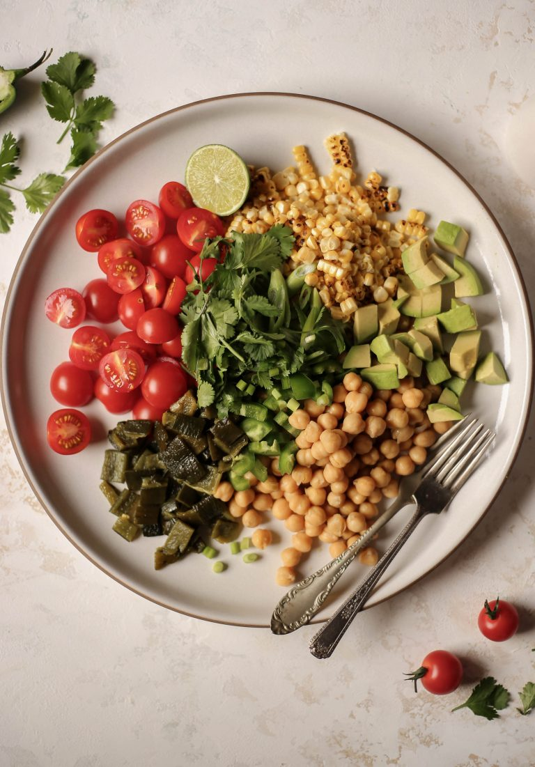 corn and chickpea salad with roasted poblano vinaigrette