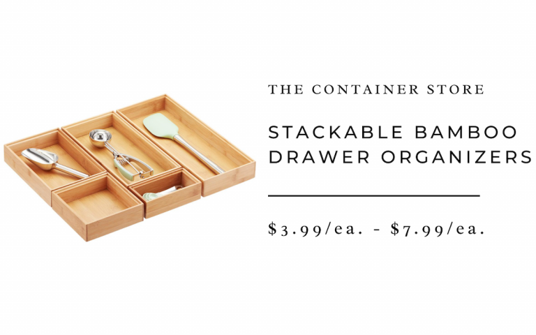 Stackable bamboo drawer organizer