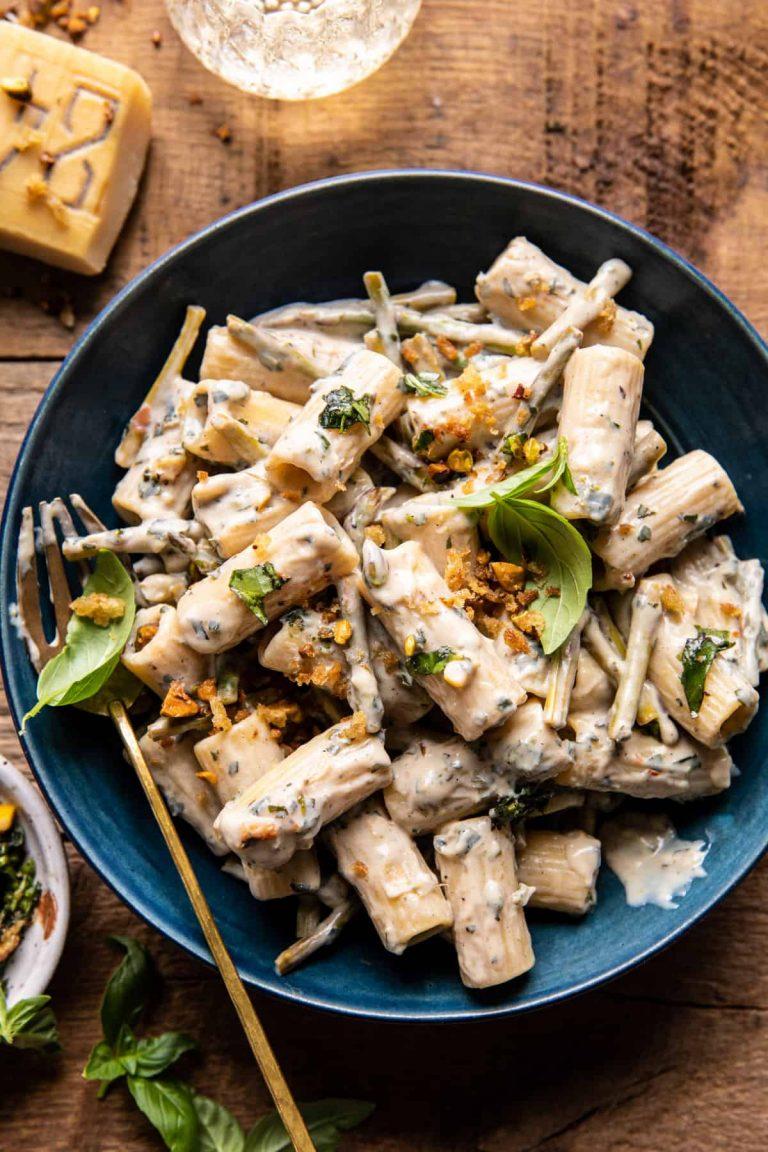 creamy lemon basil and asparagus ricotta pasta