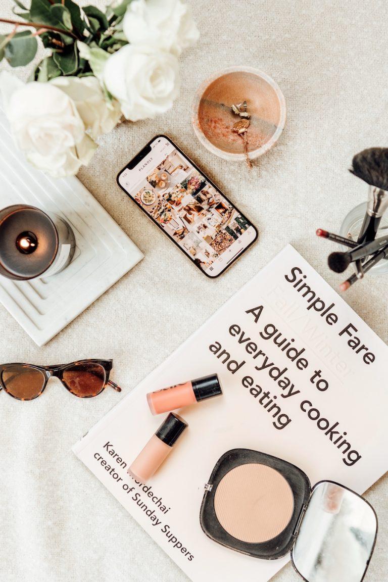phone, beauty, sunglasses, skincare, makeup flat lay