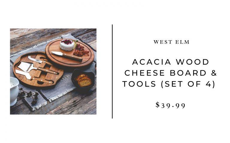 West Elm Acacia Wood Cheese Board & Tools (Set of 4)