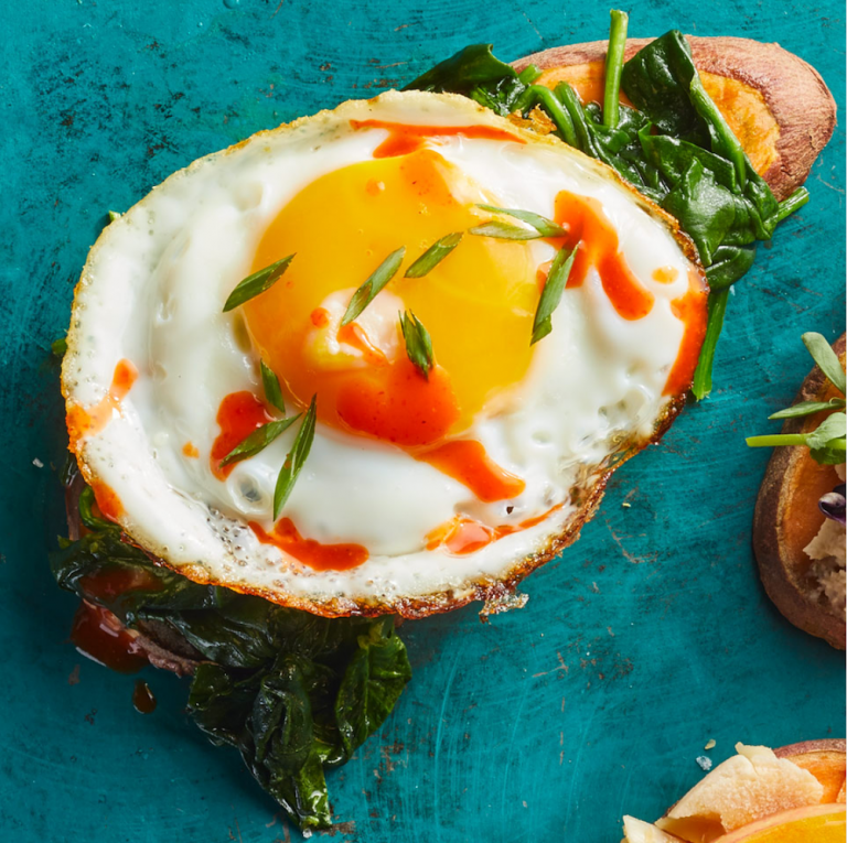 Egg and Spinach Sweet Potato Toast