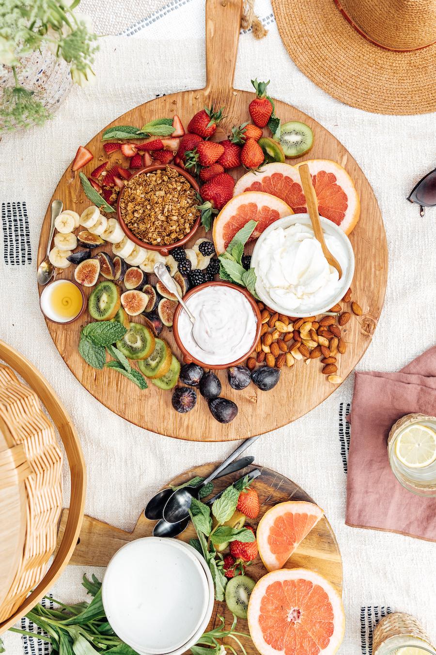 Yogurt & Granola Breakfast Grazing Board for a Mother's Day Picnic