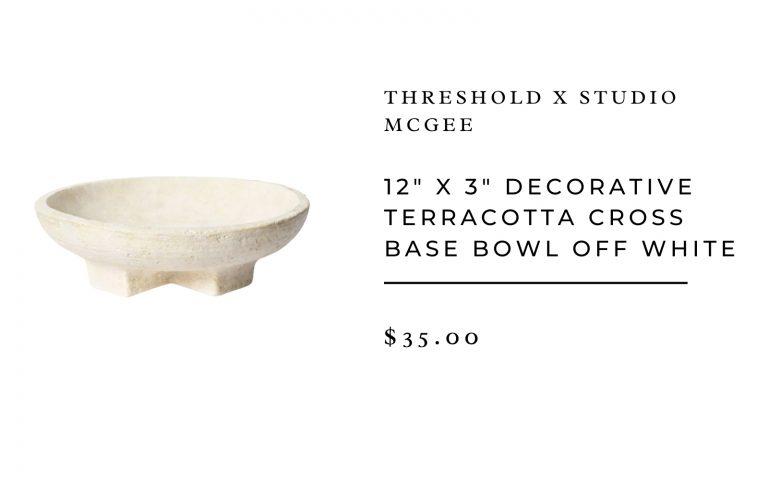 "Threshold Studio McGee 12"" x 3"" Decorative Terracotta Cross Base Bowl Off White"