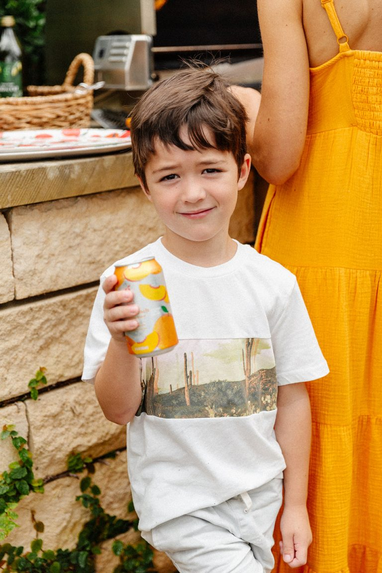 backyard dinner party with target, camille styles kids, sparkling water
