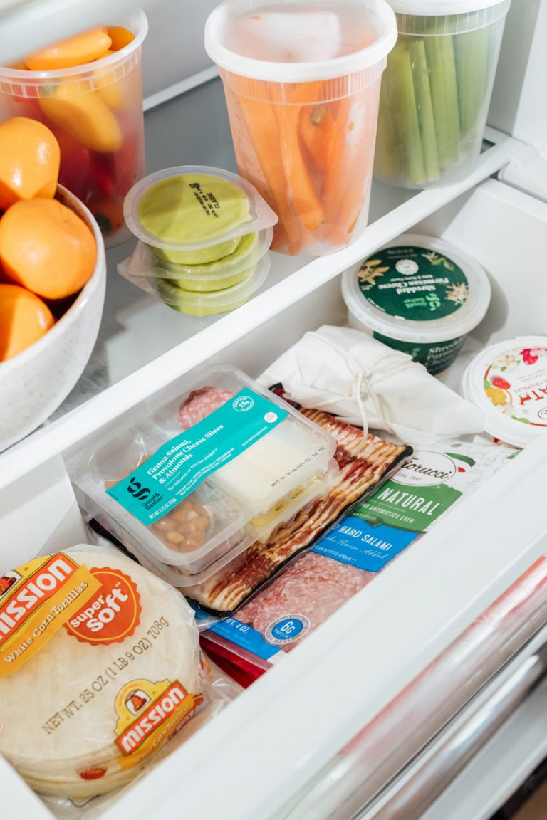 camille styles refrigerator - fresh fruits and veggies - how to stock your fridge - cheese