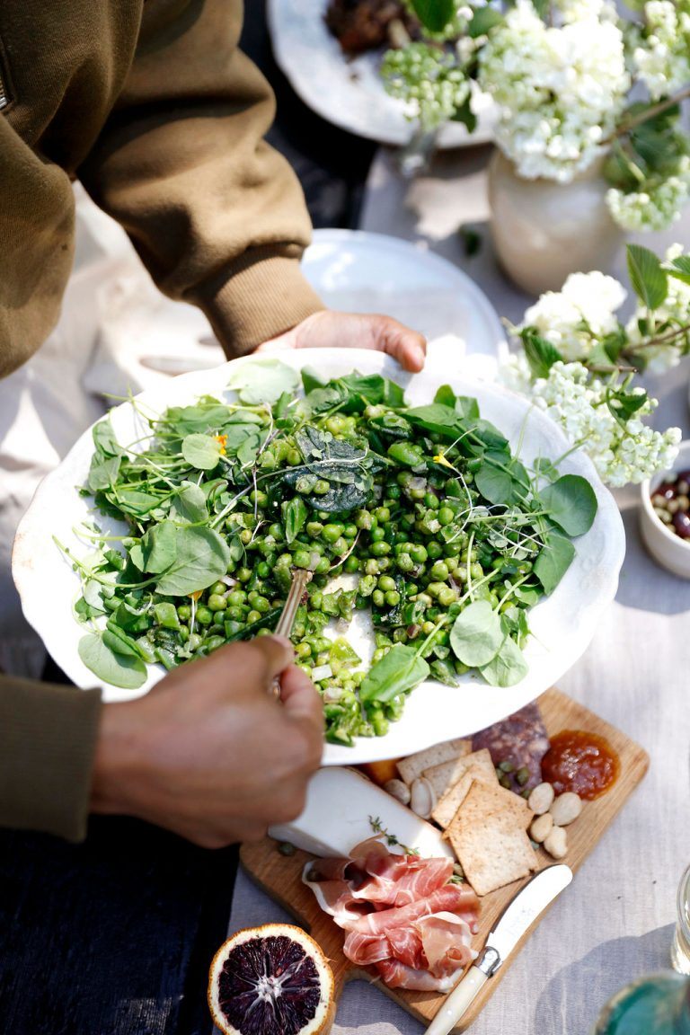 At Home With Kennesha Buycks, Restoration House Blog, spring green peas and asparagus veggies dish