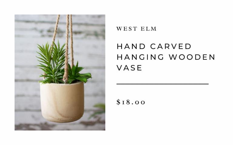 West Elm Hand Carved Hanging Wooden Vase