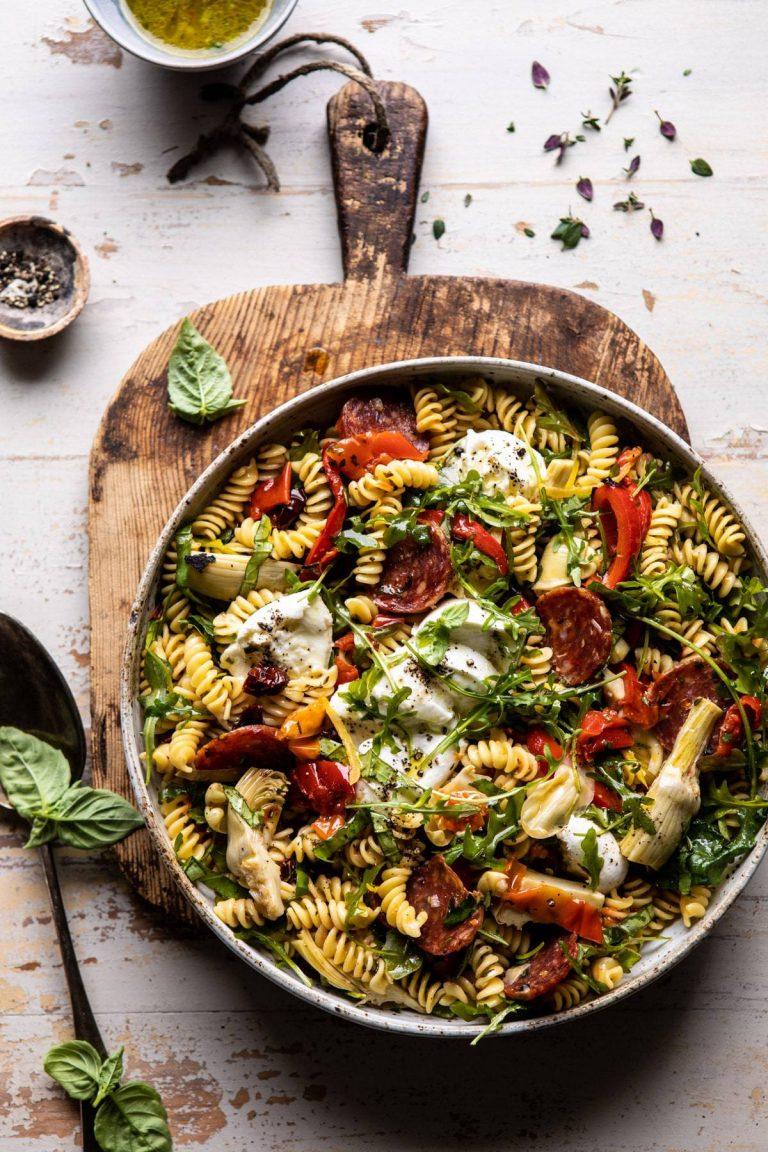 Antipasto Pasta Salad With Herby Parmesan Vinaigrette