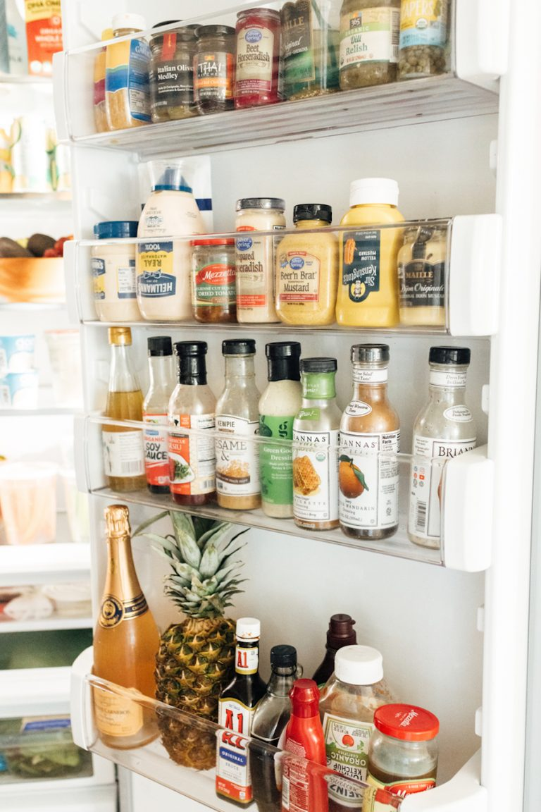 camille styles refrigerator - fresh fruits and veggies - how to stock your fridge- condiments - salad dressing - mustard