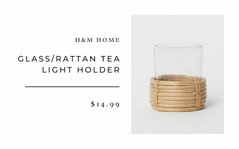 H&M Glass/Rattan Tea Light Holder