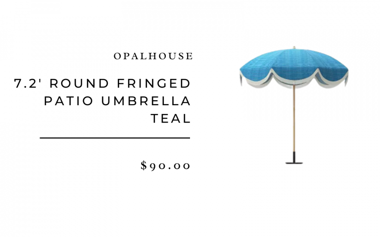 Opalhouse 7.2' Round Fringed Patio Umbrella Teal