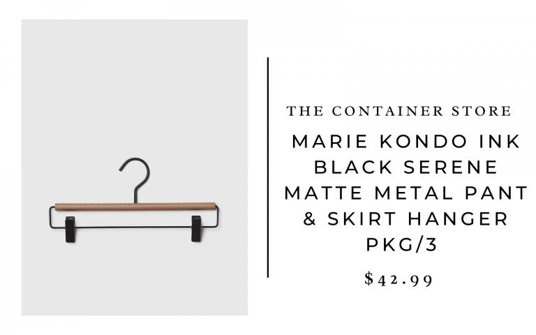 The Container Store Marie Kondo Ink Black Serene Matte Metal Pant & Skirt Hanger Pkg/3