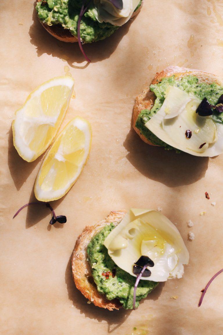 Artichoke & Spring Pea Crostini