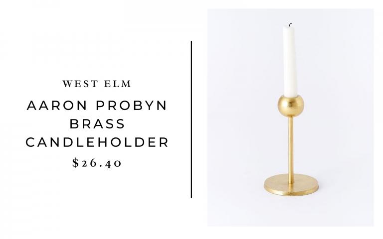 West Elm Aaron Probyn Brass Candleholder