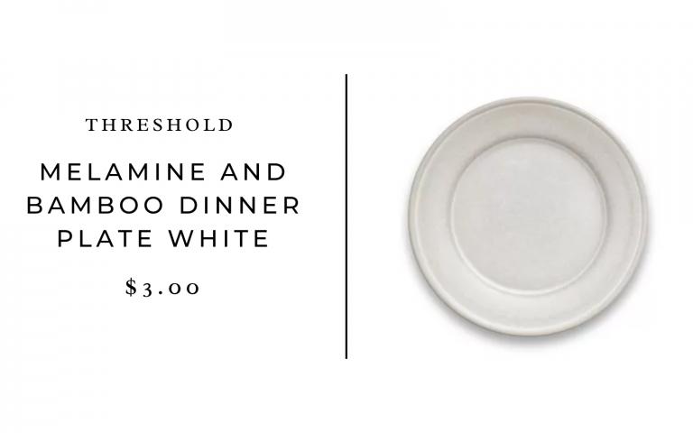 """Threshold 10.5"""" Melamine and Bamboo Dinner Plate White"""