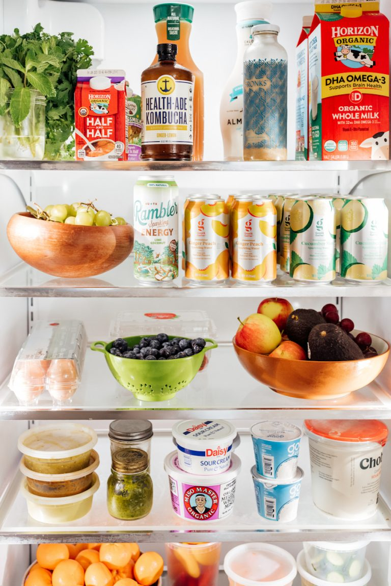 camille styles refrigerator - fresh fruits and veggies - how to stock your fridge-sparkling waters-beverages-kombucha