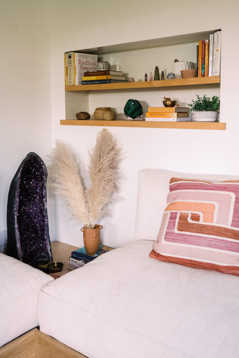 Kimberly Snyder's home office, crystals, books, zen