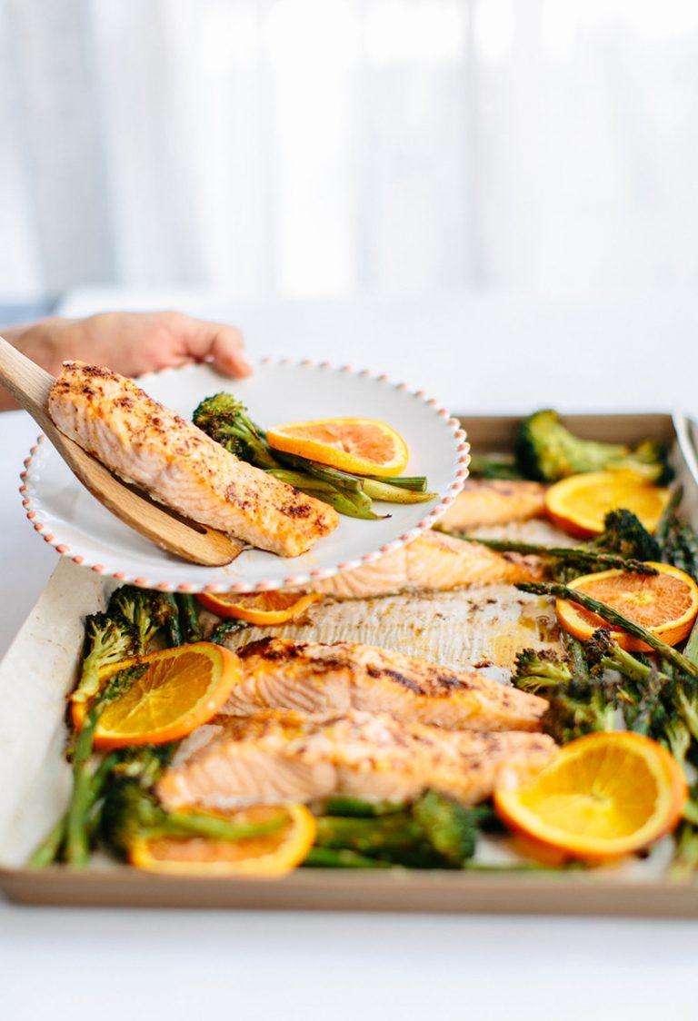 Roasted Chili-Orange Salmon with Garlic & Green Veggies — Camille Styles