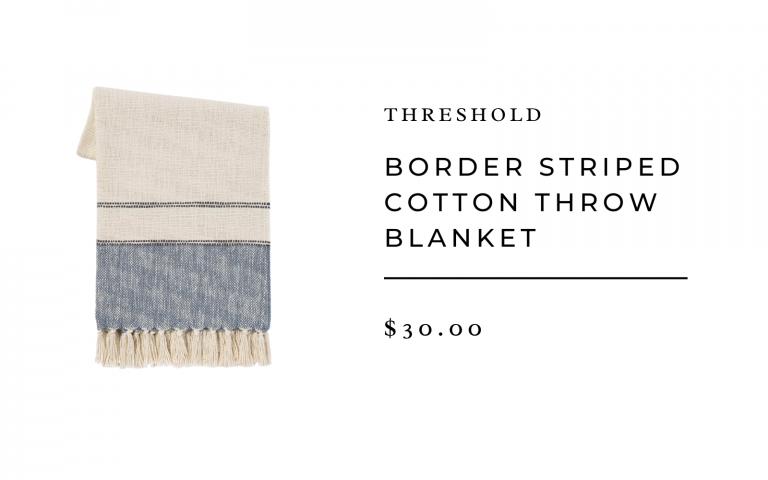 """Threshold 50""""x60"""" Border Striped Cotton Throw Blanket"""