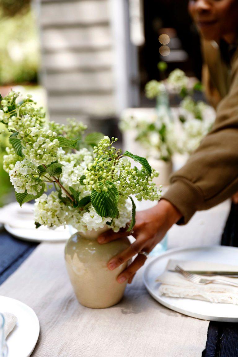 At Home With Kennesha Buycks, Restoration House Blog, Flowers, side table, spring, summer, BIPOC designer, hydrangeas