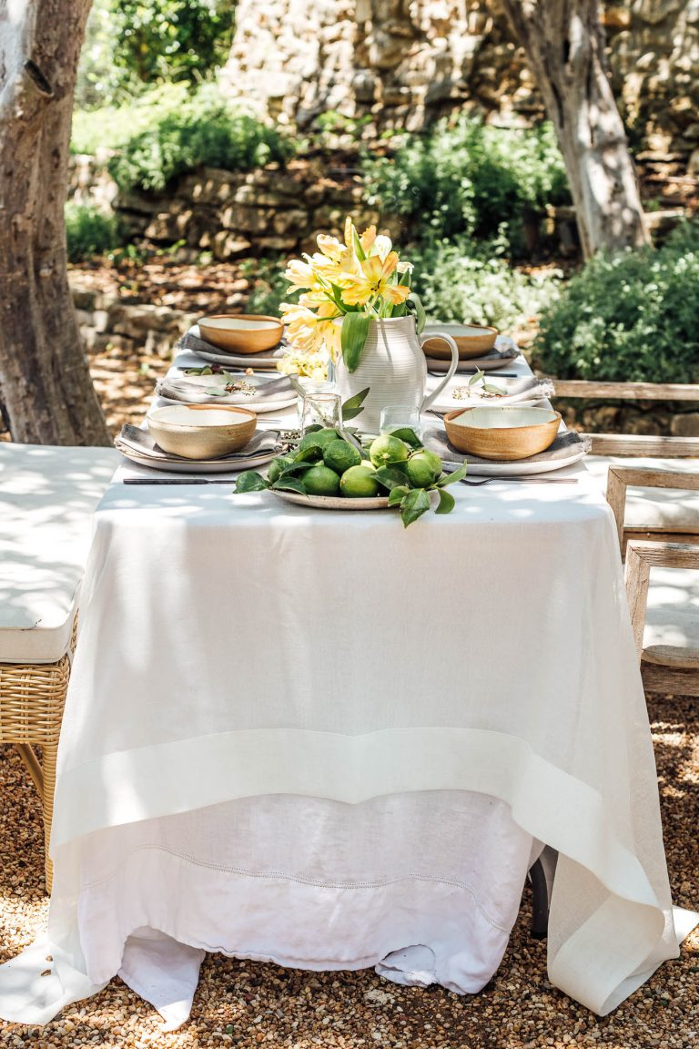 summer table setting ideas for a backyard dinner party, tulips and limes, camille styles backyard