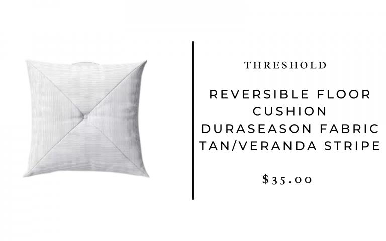 Threshold Reversible Floor Cushion DuraSeason Fabric™ Tan/Veranda Stripe