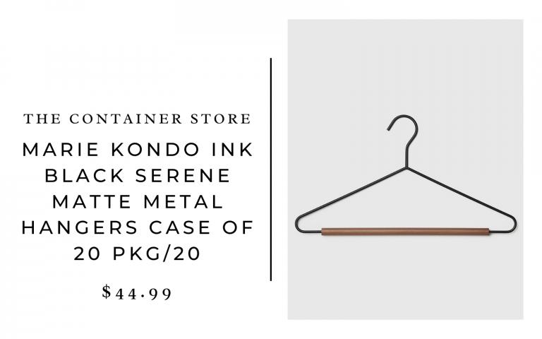 The Container Store Marie Kondo Ink Black Serene Matte Metal Hangers Case of 20 Pkg