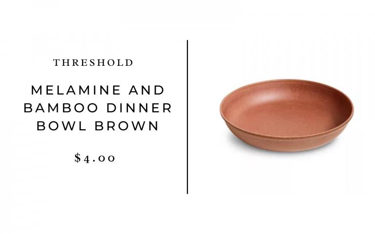 Threshold 45oz Melamine and Bamboo Dinner Bowl Brown