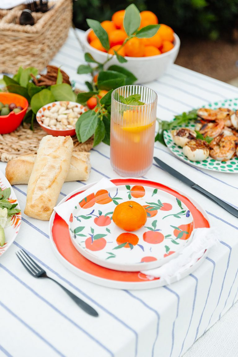 summer tablescape, backyard dinner party with Target, al freso entertaining, outdoor entertaining ideas, orange, citrus, spanish inspired