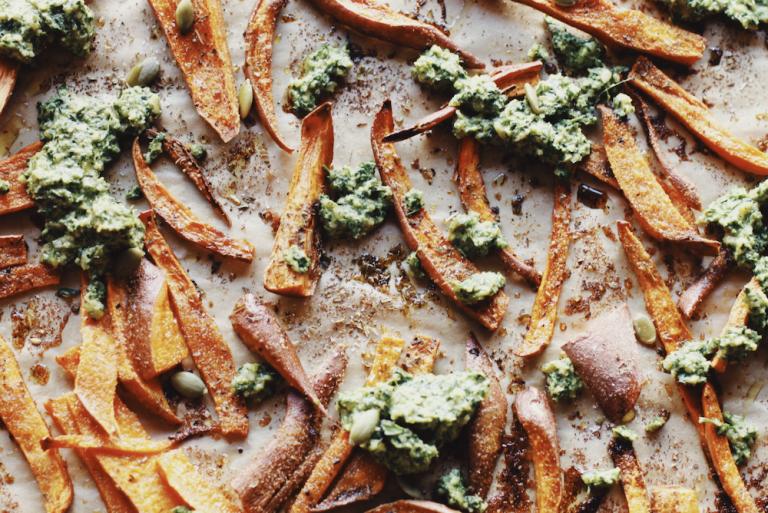 Sweet Potato Fries with Vegan Carrot Top Pesto
