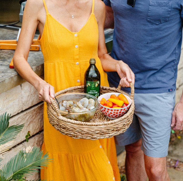 summer backyard dinner party, spanish sangria, yellow dress, target, grilling