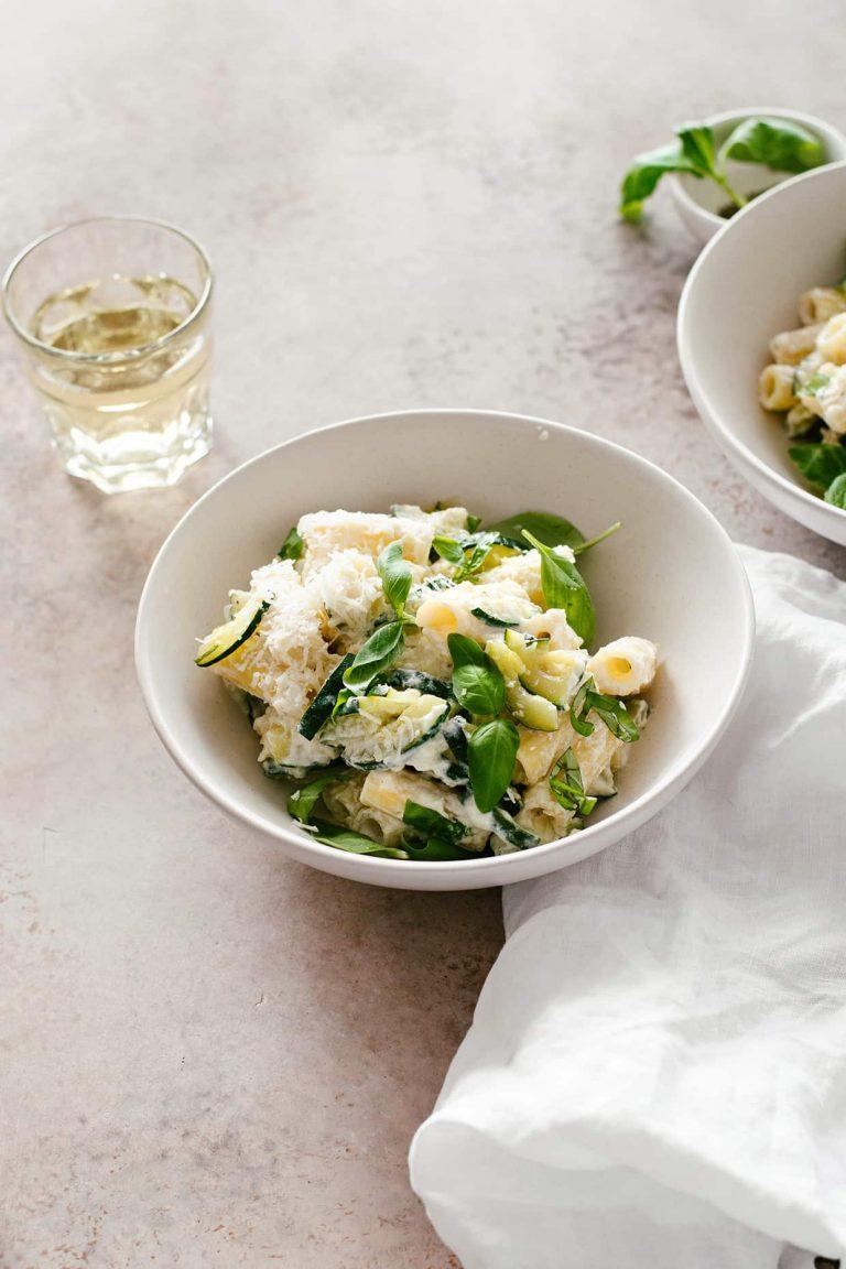 Lemon ricotta zucchini pasta - light pasta