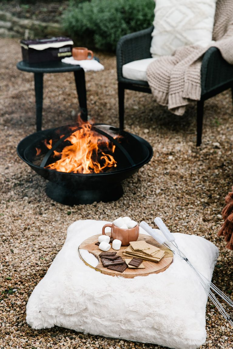 fire pit with s'mores, backyard game night to celebrate fall with target, cozy, blankets and throws