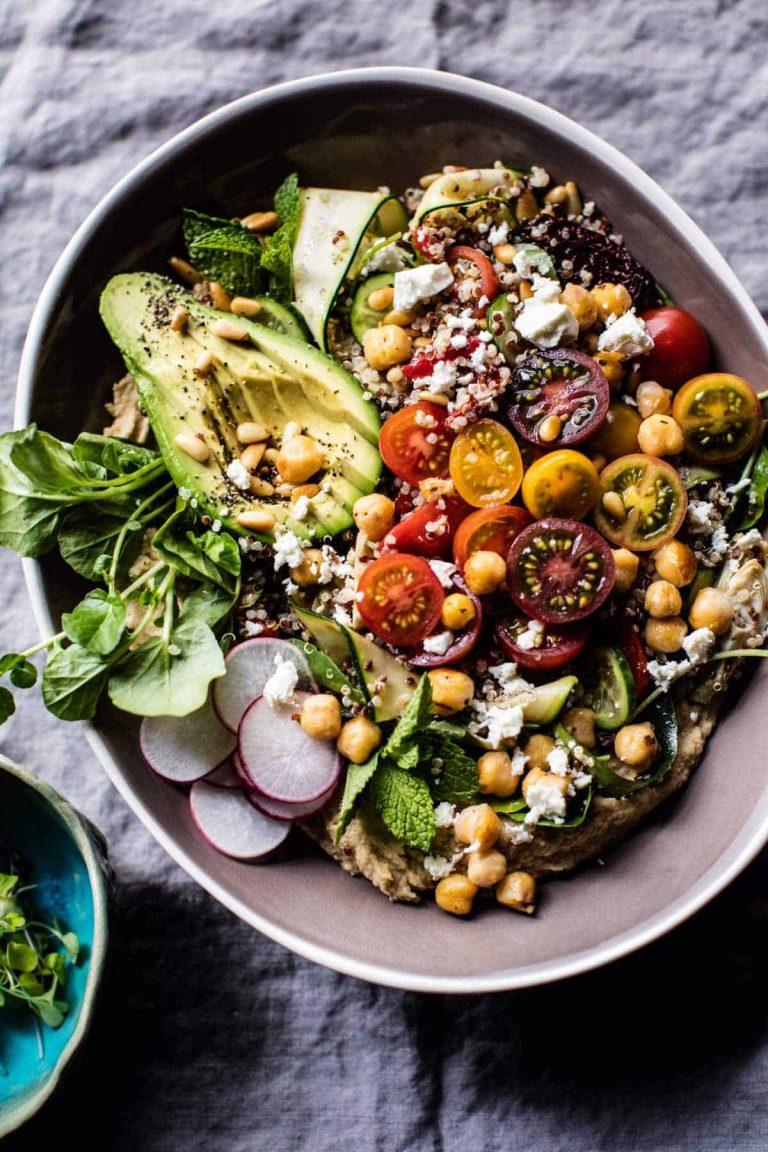 loaded greek quinoa salad from half baked harvest