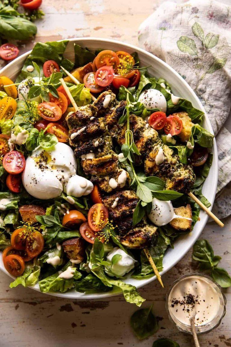 pesto chicken caesar salad from half baked harvest