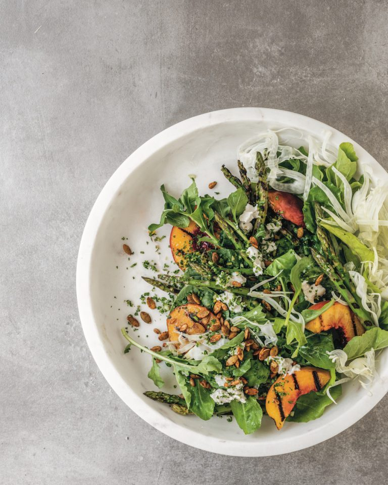 Grilled Peace and Asparagus Salad - Camille Styles
